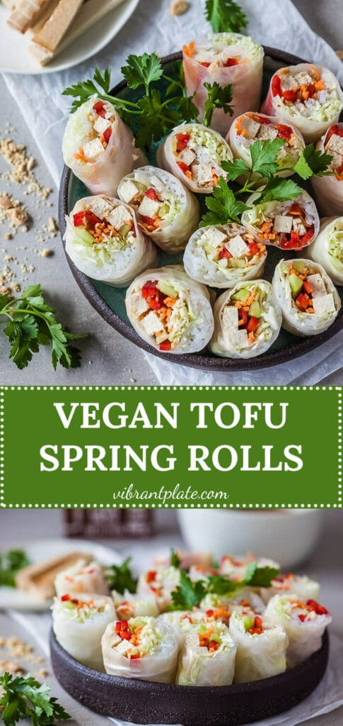 These colorful Vegan Tofu Spring Rolls are paired with a delicious peanut dipping sauce. A delicious gluten-free meal in just 30 minutes! | Vibrant Plate