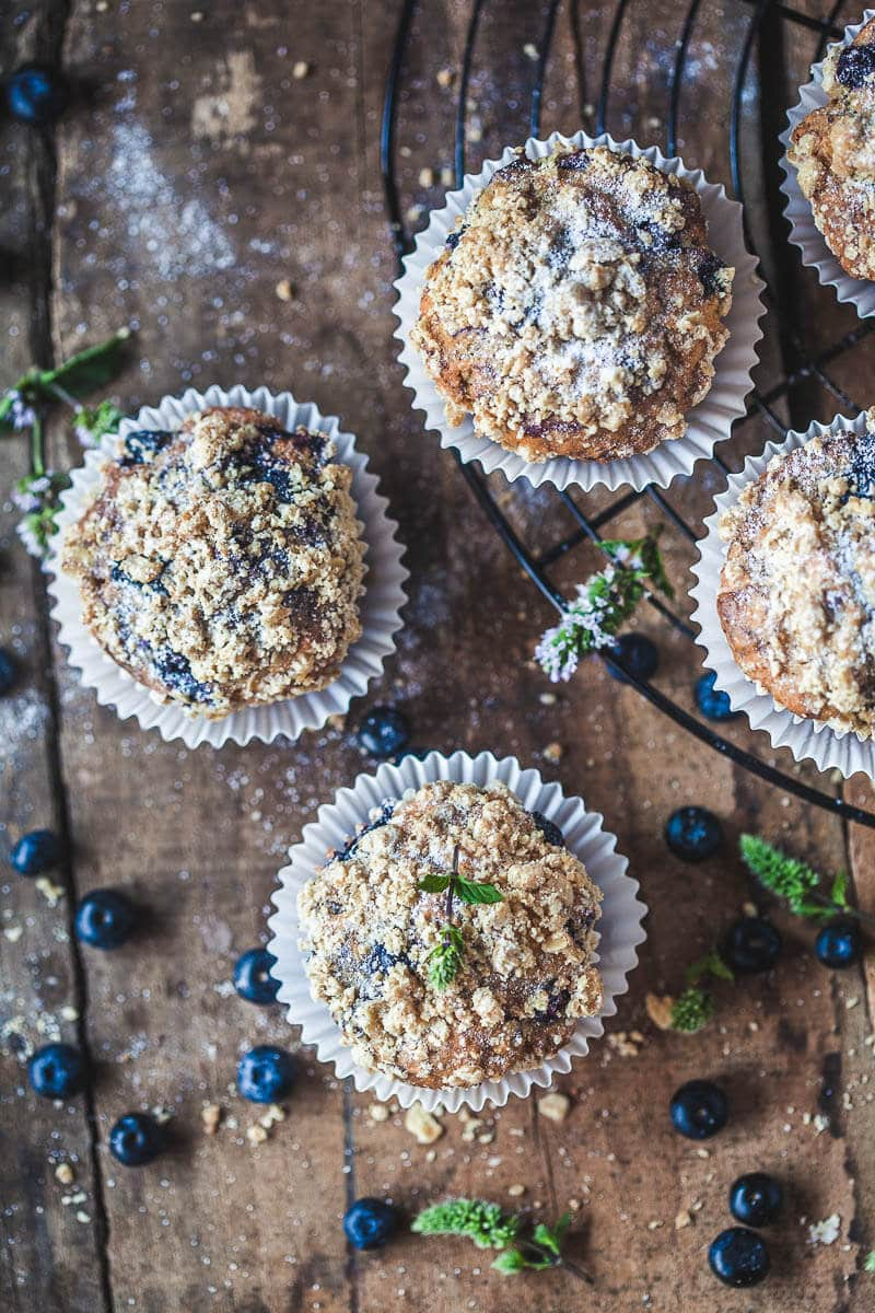 The perfect Yogurt Blueberry Breakfast Muffins, tender and fluffy in the middle, crisp and crunchy on top.   Vibrant Plate