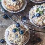 The perfect Yogurt Blueberry Breakfast Muffins, tender and fluffy in the middle, crisp and crunchy on top. | Vibrant Plate