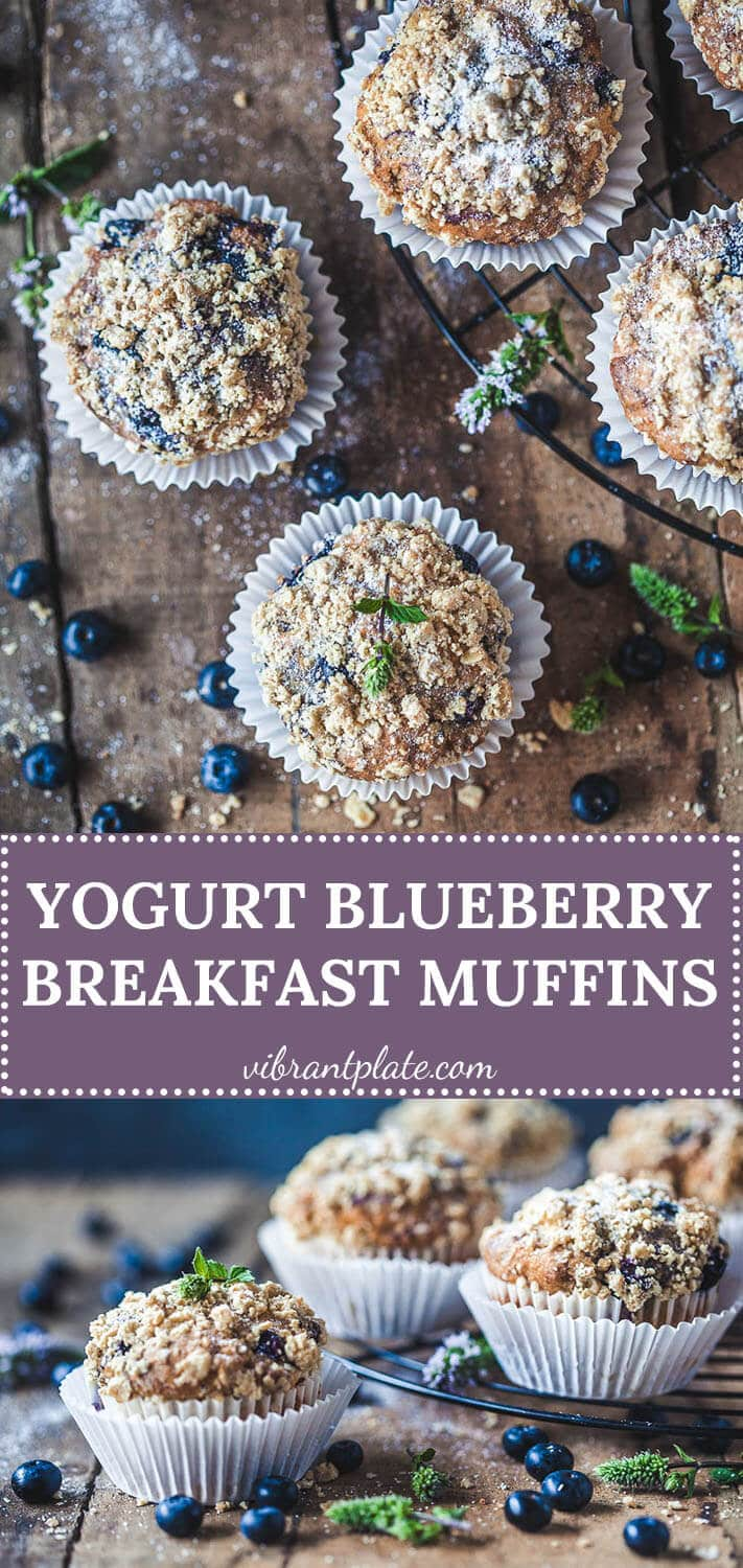 The perfect Yogurt Blueberry Breakfast Muffins, tender and fluffy in the middle, crisp and crunchy on top.