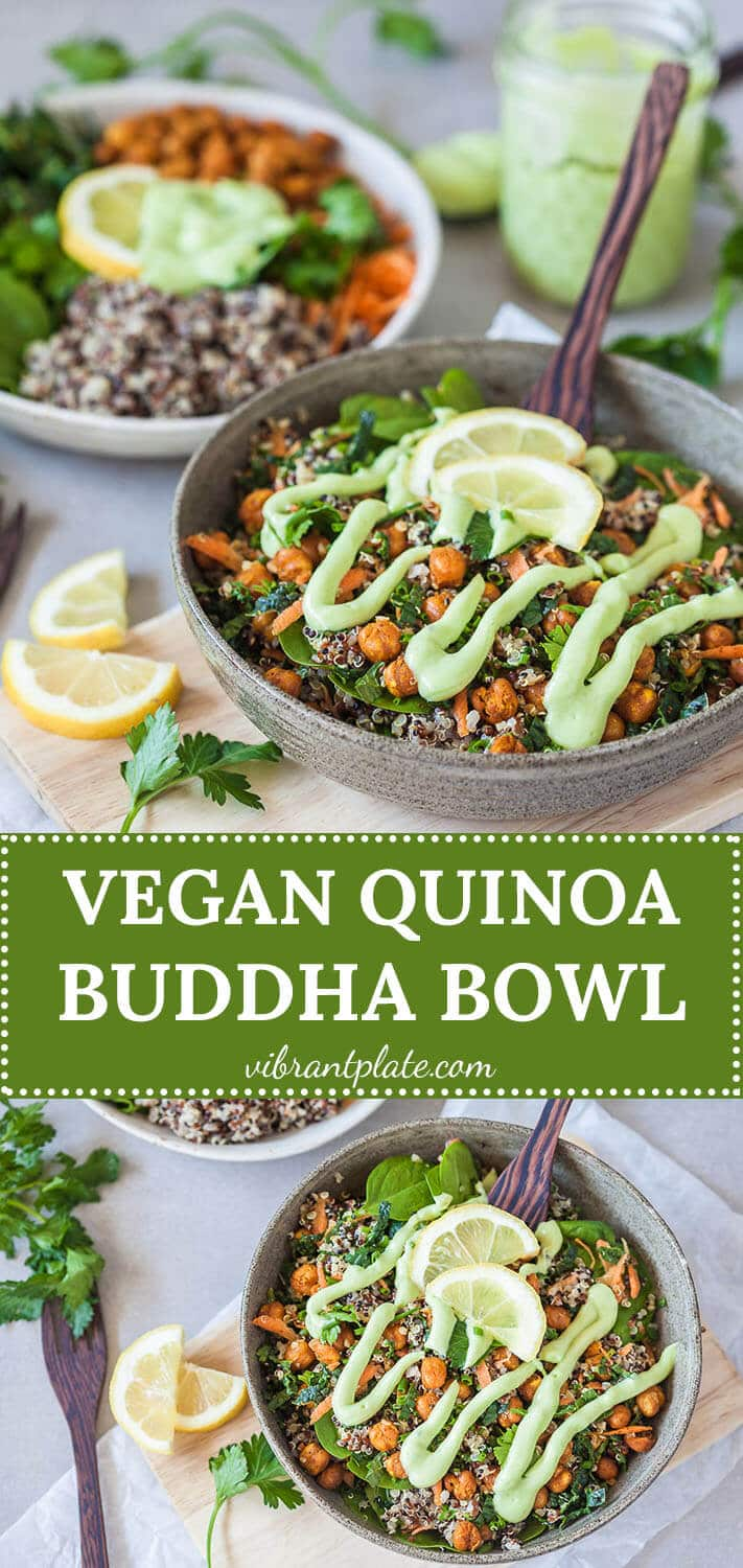 This Vegan Quinoa Buddha Bowl uses kale and roasted chickpeas and is completed by a delicious Avocado Cream Dressing!