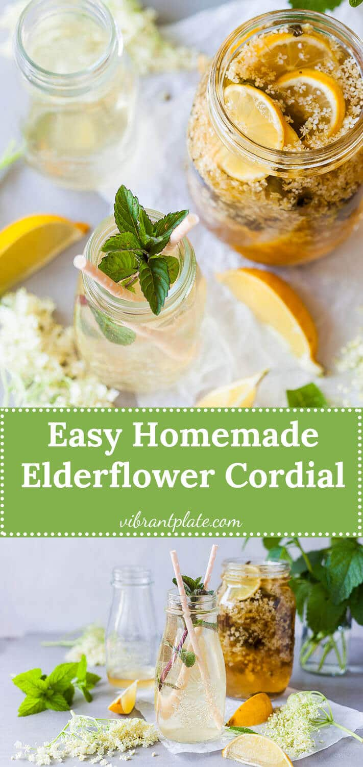 Homemade Elderflower Cordial is a refreshing summer drink that is super easy to make and uses less sugar.