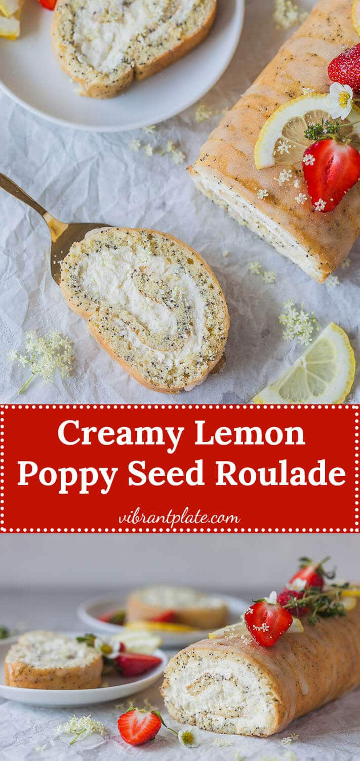 Lemon Poppy Seed Roulade with a light and creamy lemony filling. This is your perfect Sunday dessert.