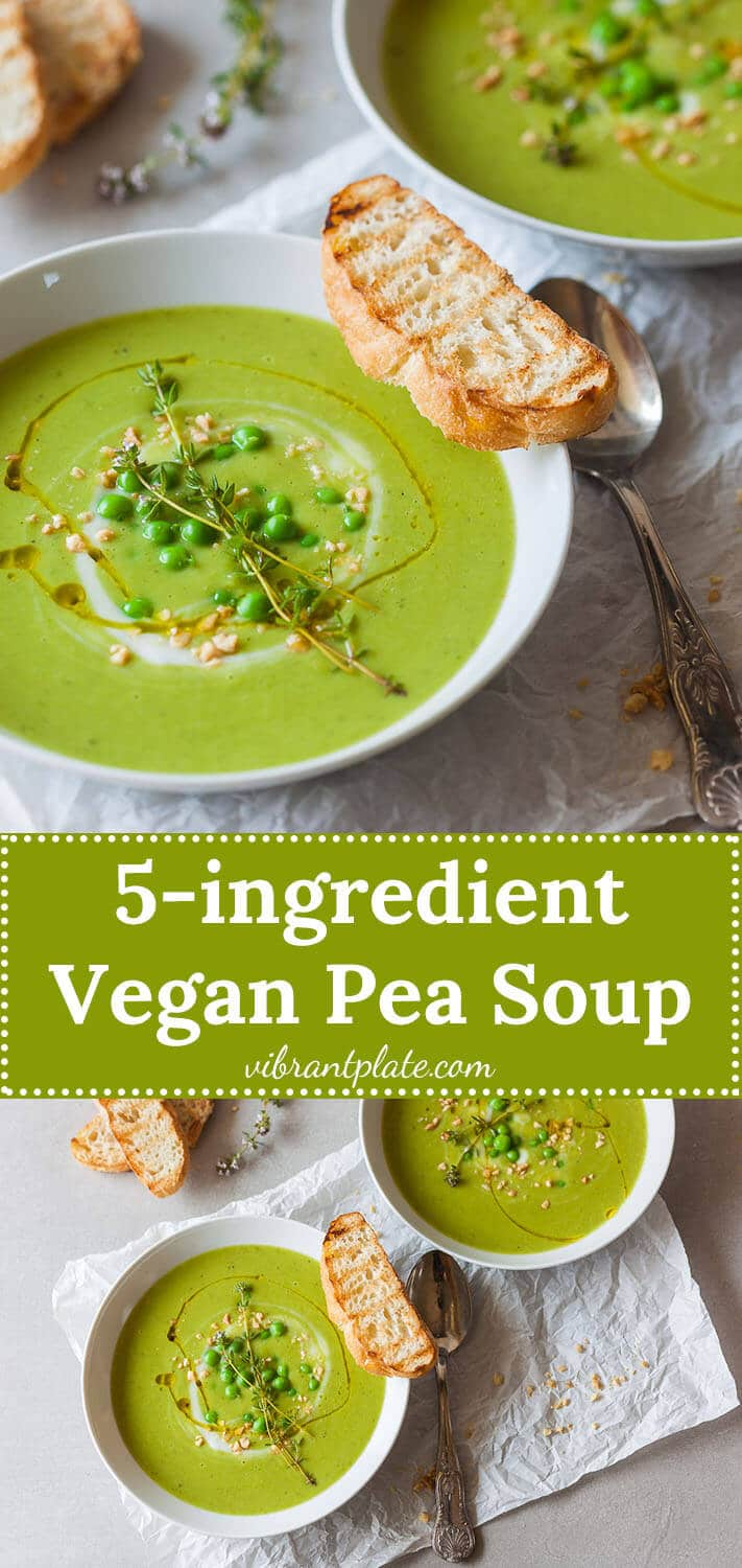 An easy radiant green Vegan Pea Soup that uses only 5 ingredients and 15 minutes to make a delicious meal!