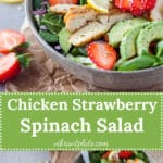 A beautiful spring Strawberry Spinach Salad with Grilled Chicken and Avocado for a healthy and filling meal! | Vibrant Plate