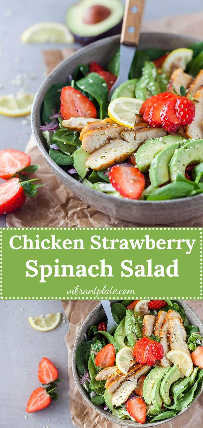 A beautiful spring Strawberry Spinach Salad with Grilled Chicken and Avocado for a healthy and filling meal!