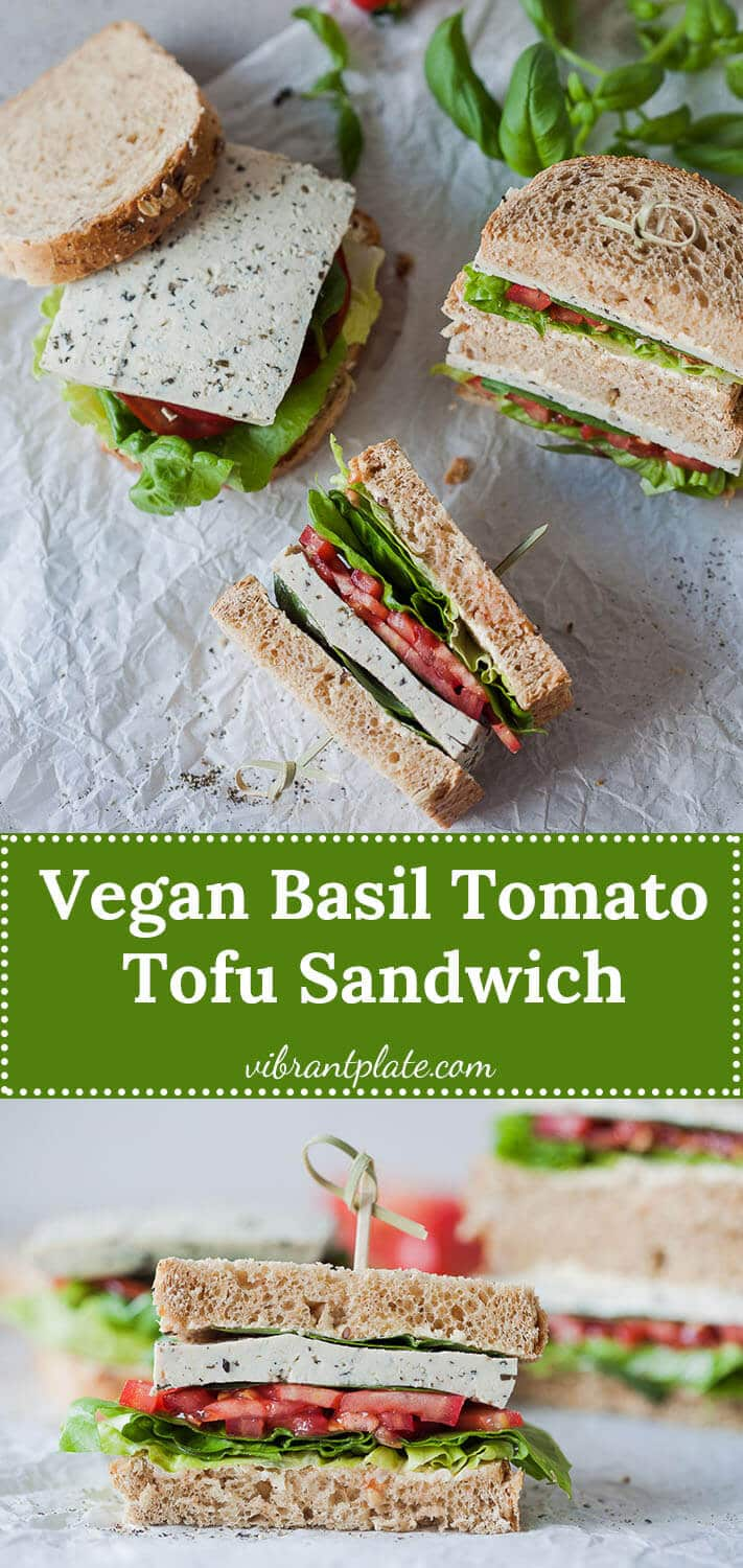 This Vegan Basil Tomato Tofu Sandwich is a quick and easy summer snack idea. Ready in 15 minutes!