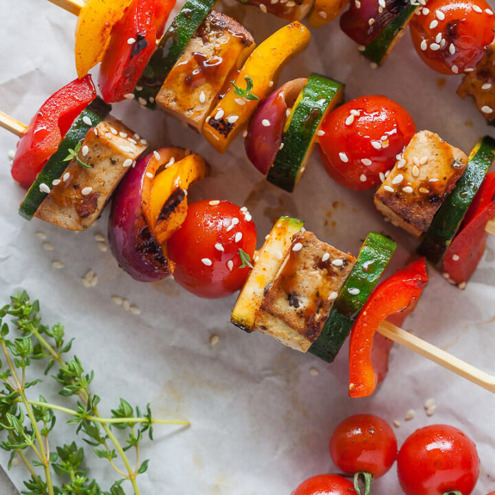 Vegan Grilled Tofu Skewers {Low-Carb}