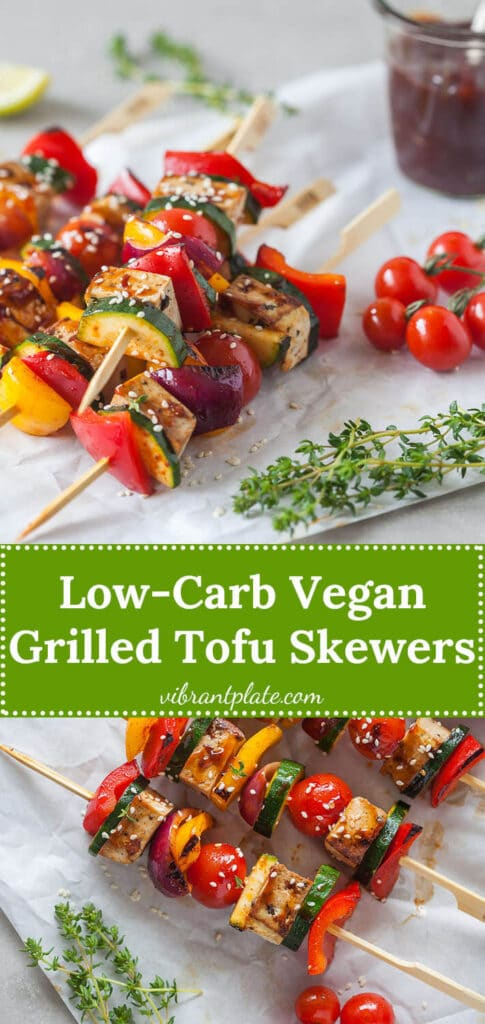 These Vegan Grilled Tofu Skewers are a real breeze to make, ready in just a couple of minutes. Gluten-Free & Low-Carb! | Vibrant Plate