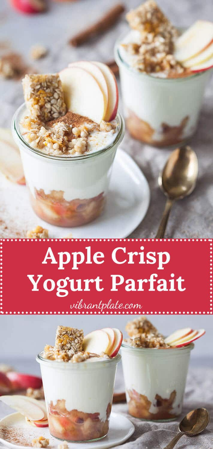 Apple Crisp Yogurt Parfait is a delicious and wholesome early fall breakfast, that is ready in just 15 minutes!