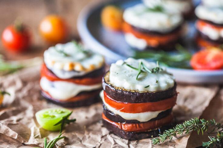Eggplant Tomato Caprese Stacks