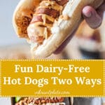 These dairy-free hot dogs are a fun summer grill dish, served 2 ways - with beer braised onions and a side of no mayo coleslaw. | Vibrant Plate