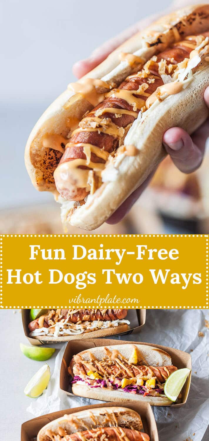 These dairy-free hot dogs are a fun summer grill dish, served 2 ways - with beer braised onions and a side of no mayo coleslaw.