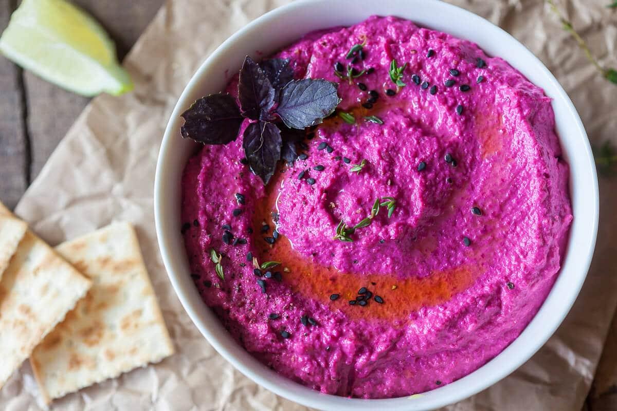 Hot Pink Beetroot Hummus {Vegan}