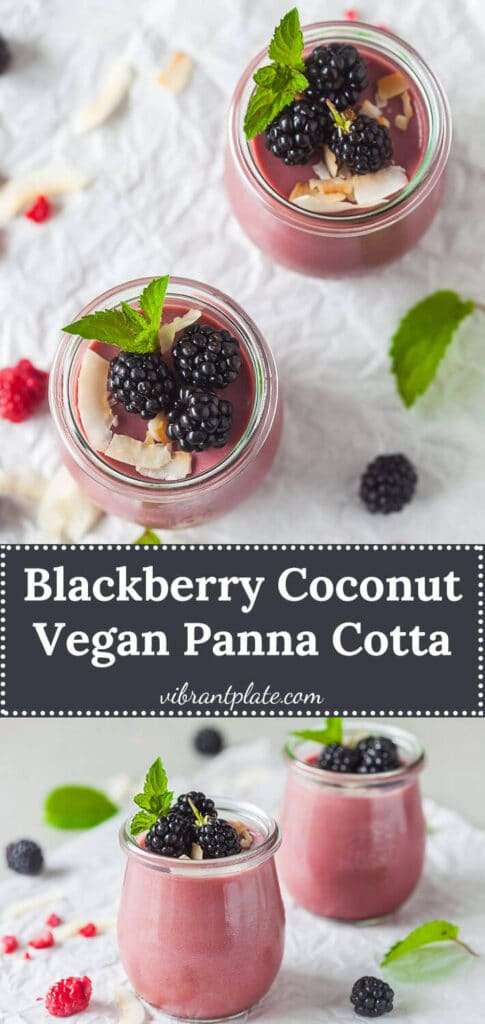 This Blackberry Coconut Vegan Panna Cotta is a refreshing summer dessert made with blackberries and coconut milk. | Vibrant Plate