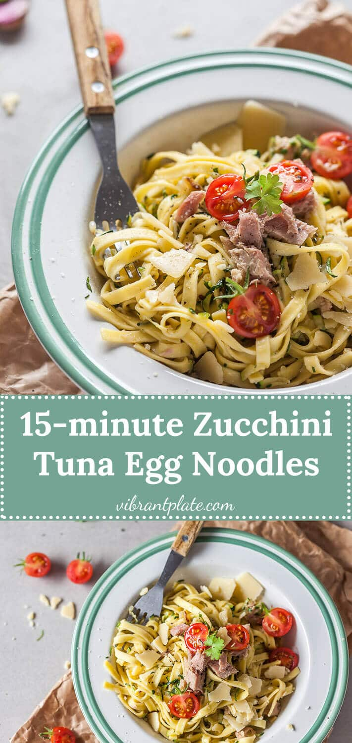 Delicious Zucchini Tuna Egg Noodles that are ready in just 15 minutes! This recipe is dairy-free.