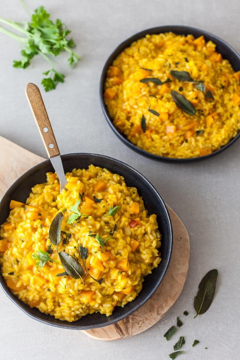 A creamy Vegan Pumpkin Puree Sage Risotto is the perfect meal on a rainy day. Easy & Gluten-Free! | Vibrant Plate