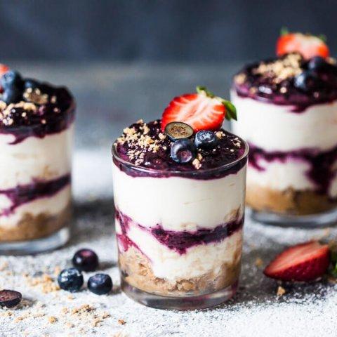 No Bake Blueberry Dessert in a Jar
