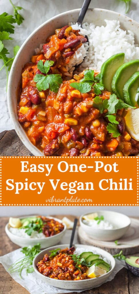 This Easy One-Pot Spicy Vegan Chili is packed with vegetables and ready in just 30 minutes. The perfect winter comfort food! | Vibrant Plate