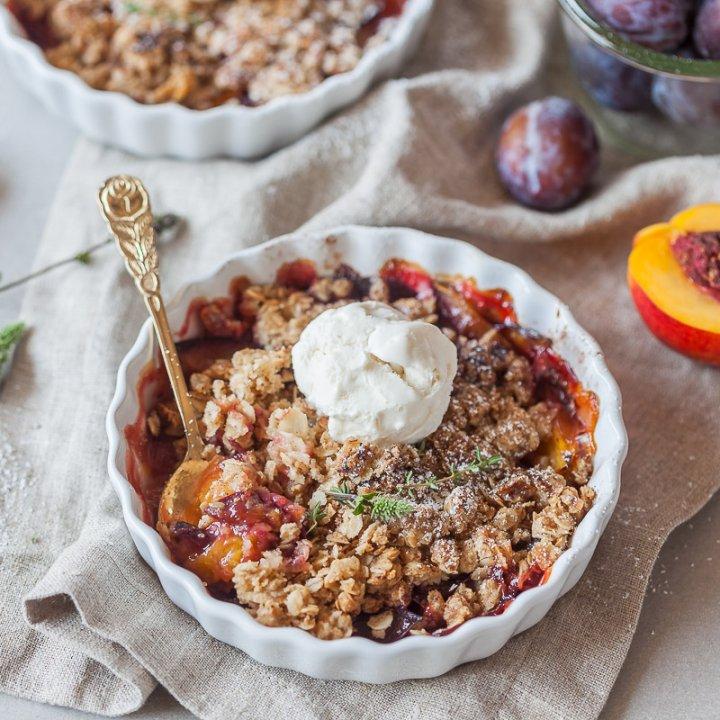 Peach and Plum Vegan Crumble