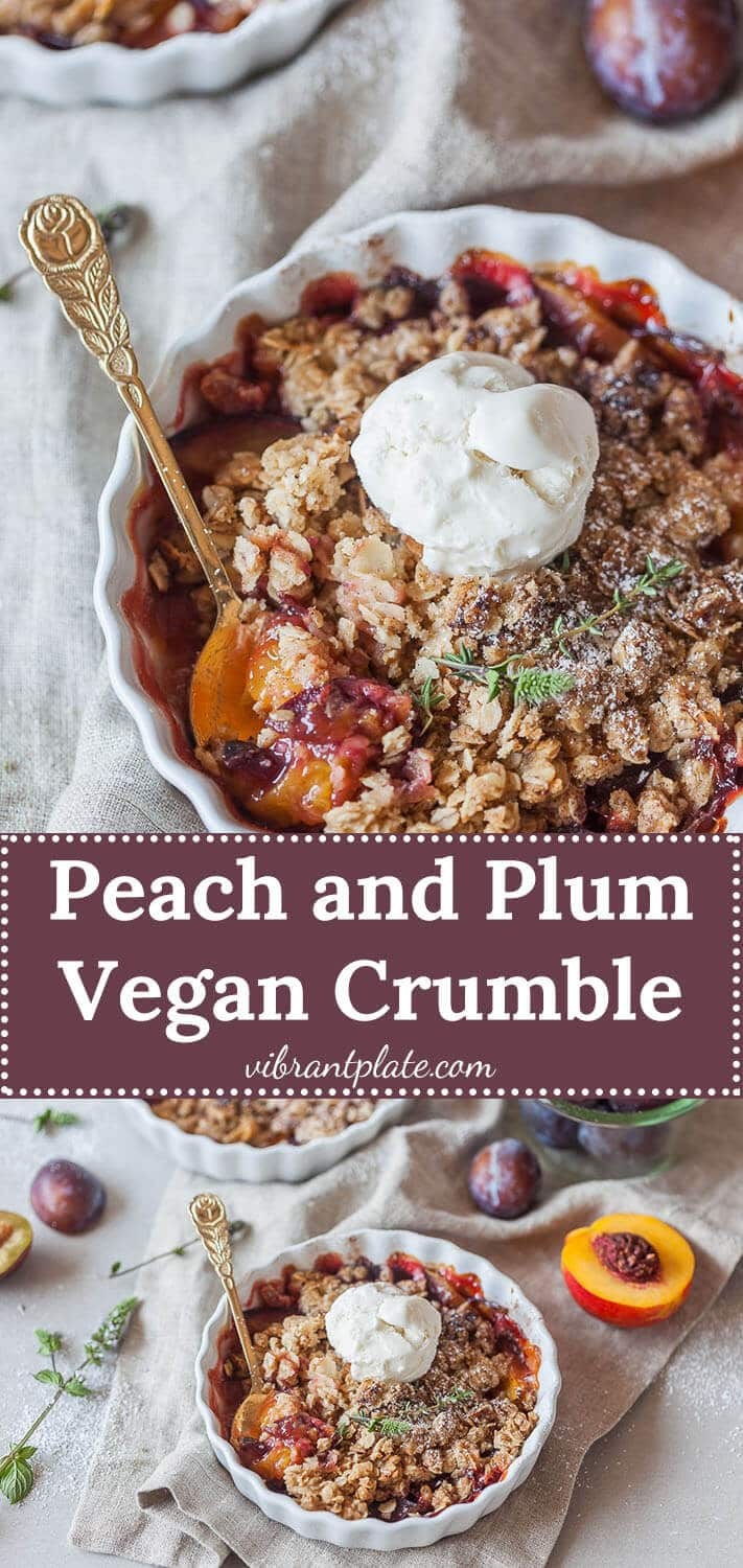 A simply delicious Peach and Plum Vegan Crumble with a crunchy oat and almond topping is a great warm dessert on a cold day.