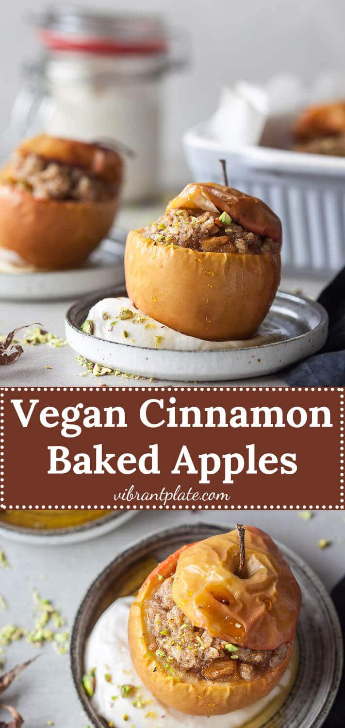 These Vegan Cinnamon Baked Apples are a classic Fall dessert, made vegan and suitable for a plant-based diet.