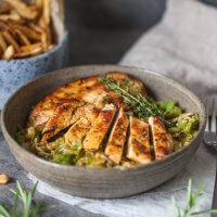 Rosemary Grilled Chicken on Cabbage