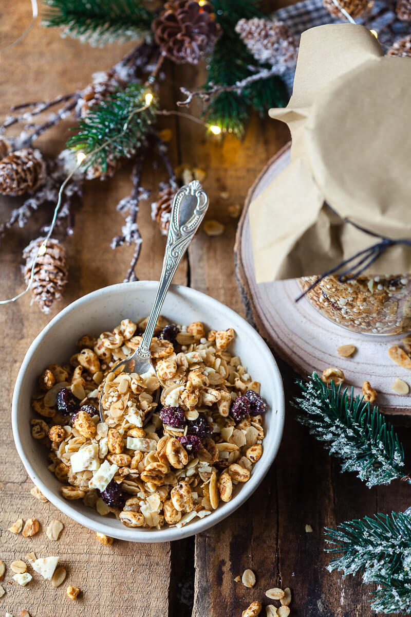 Honey Roasted Cranberry Granola in a bowl
