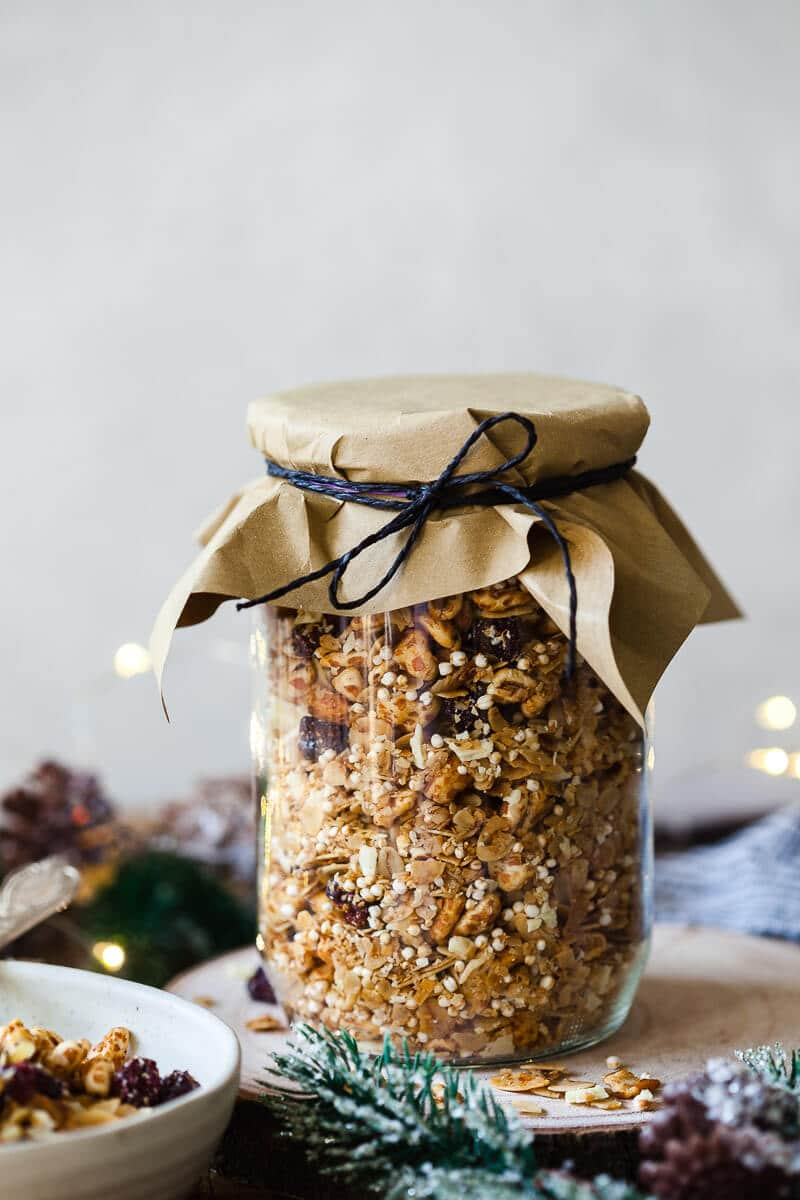 Honey Roasted Cranberry Granola in a jar