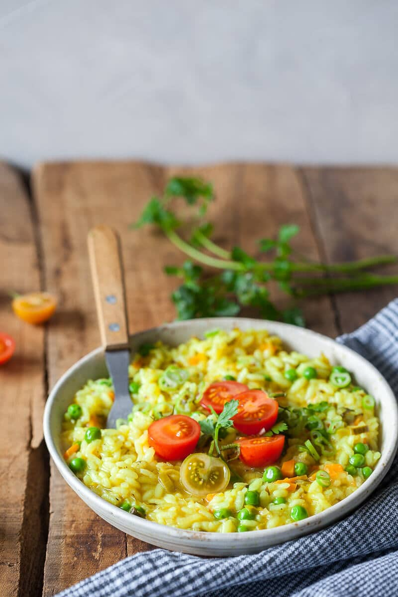 Turmeric Leek Vegan Risotto on a plate