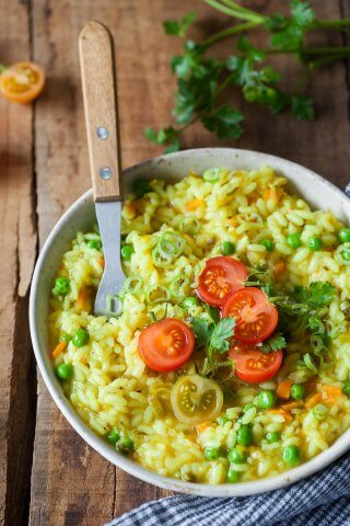 Turmeric Leek Vegan Risotto on a plate