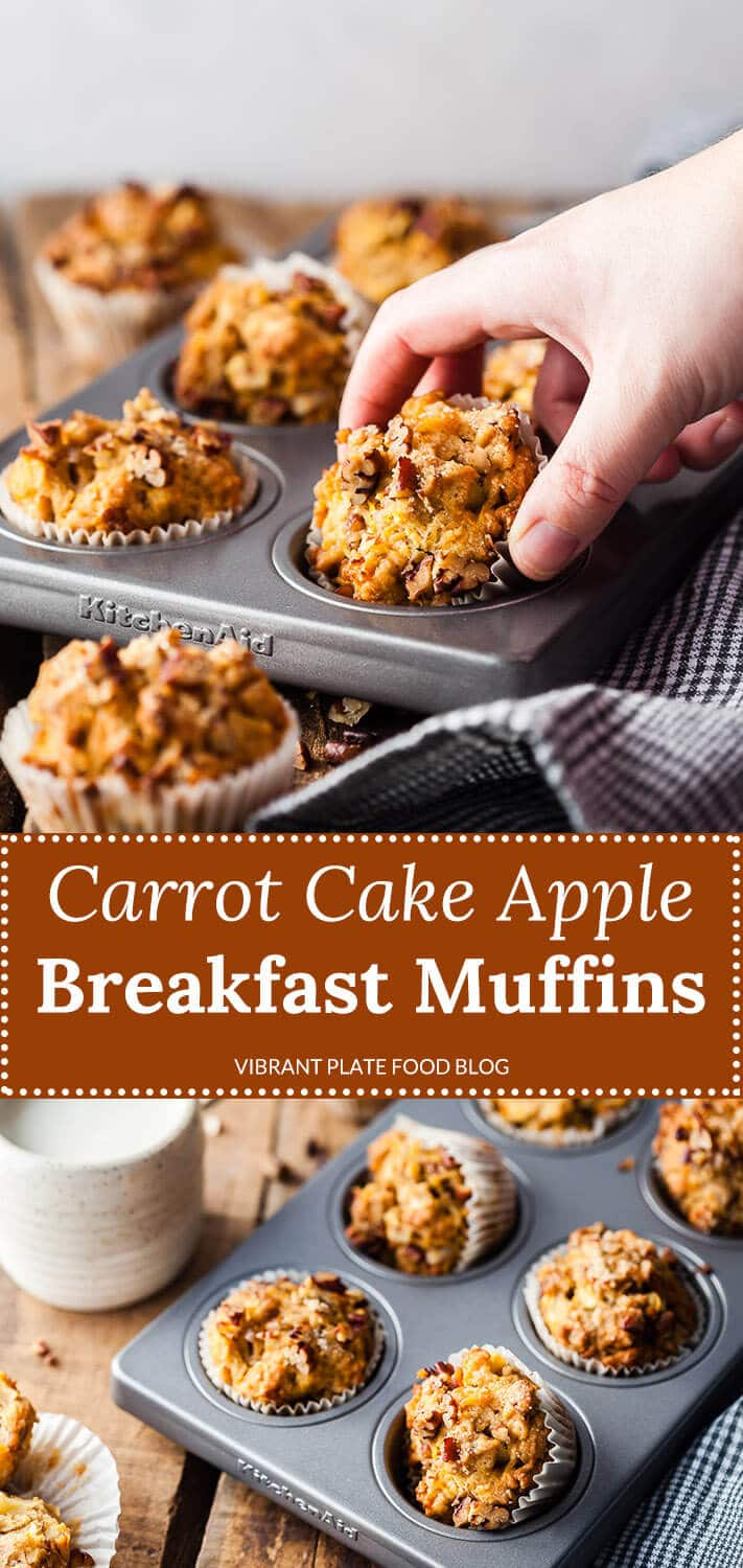 These Carrot Cake Apple Breakfast Muffins are a delicious and healthier breakfast option for the family.