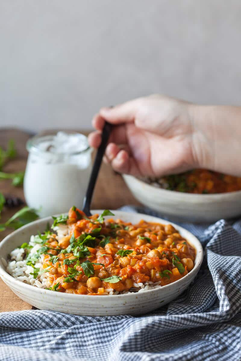Chickpea Lentil Coconut Curry in a bowl