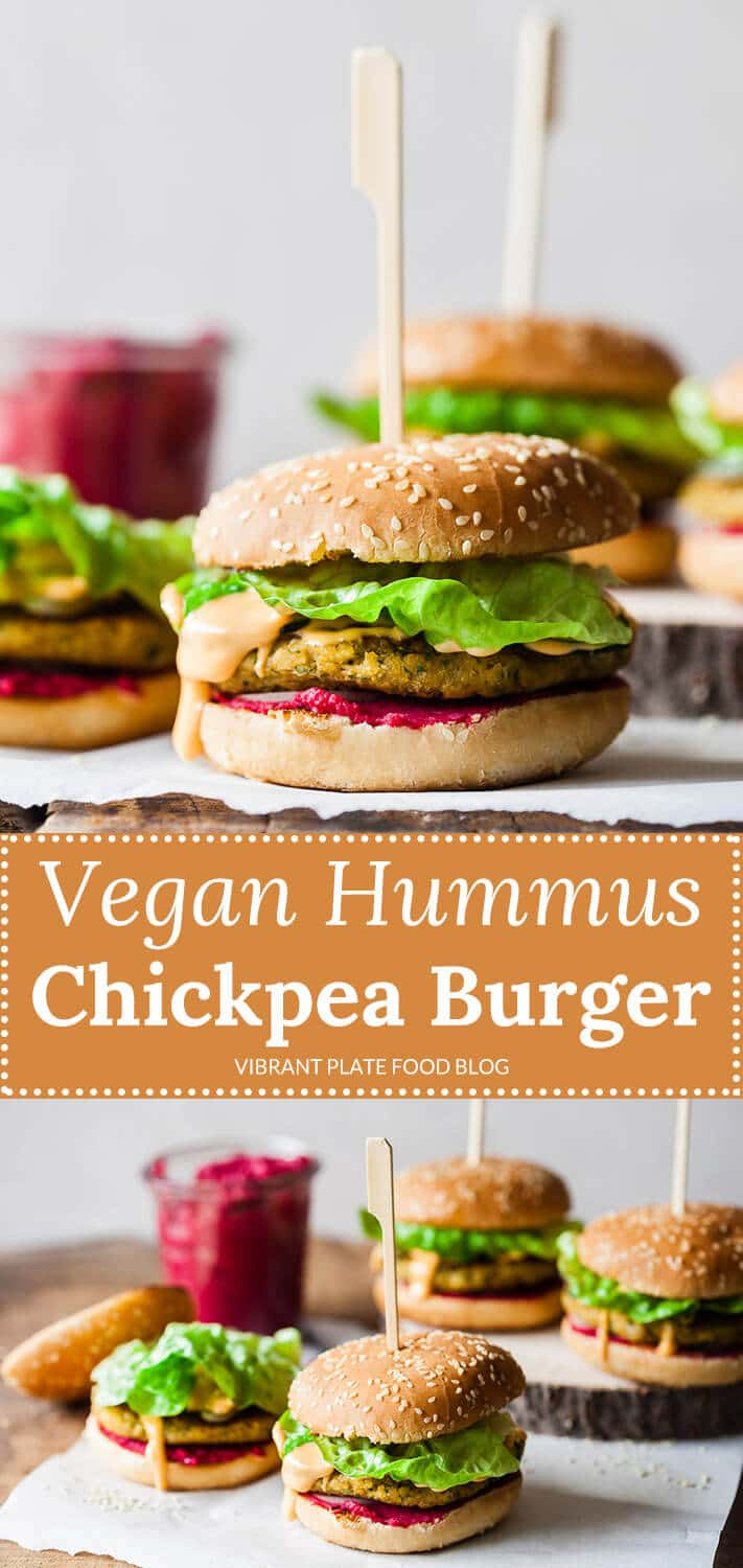 A delicious Vegan Hummus Chickpea Burger with hot pink beetroot hummus and an easy chickpea patty, that will satisfy even the carnivores!