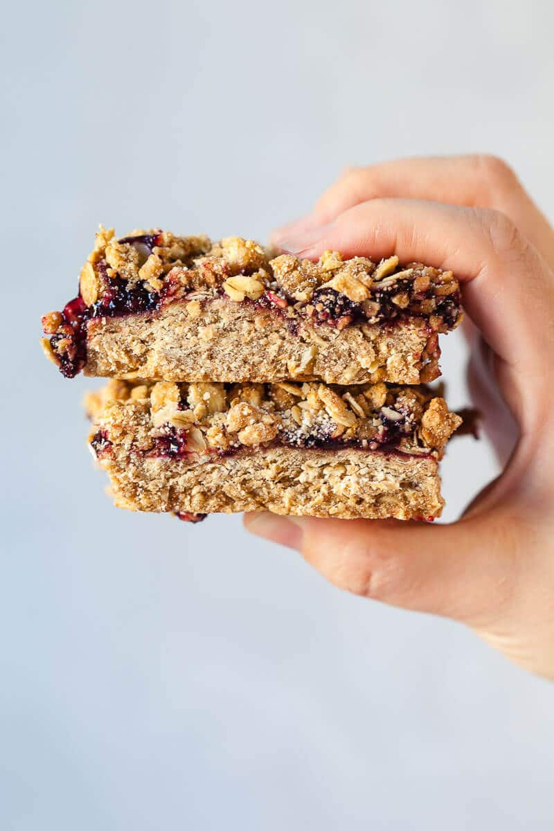 Oatmeal Crumble Bars in hands