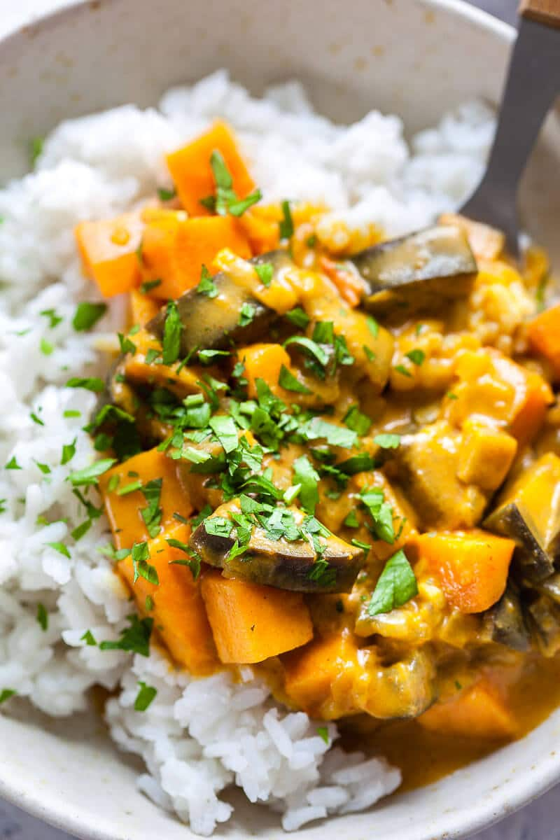 Eggplant Sweet Potato Curry closeup