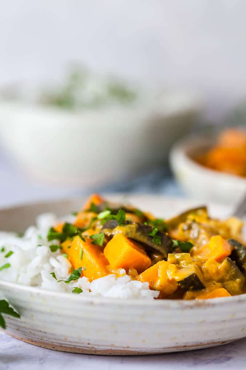 Eggplant Sweet Potato Curry in a bowl