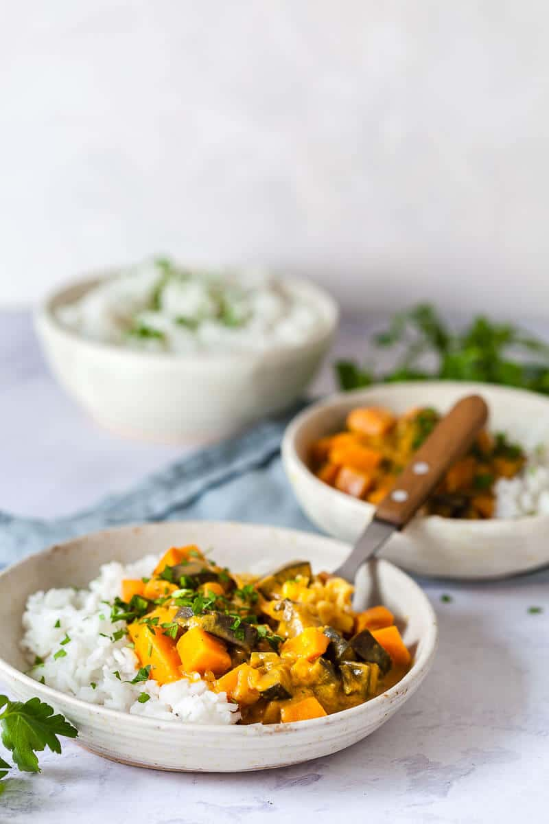 Eggplant Sweet Potato Curry on table