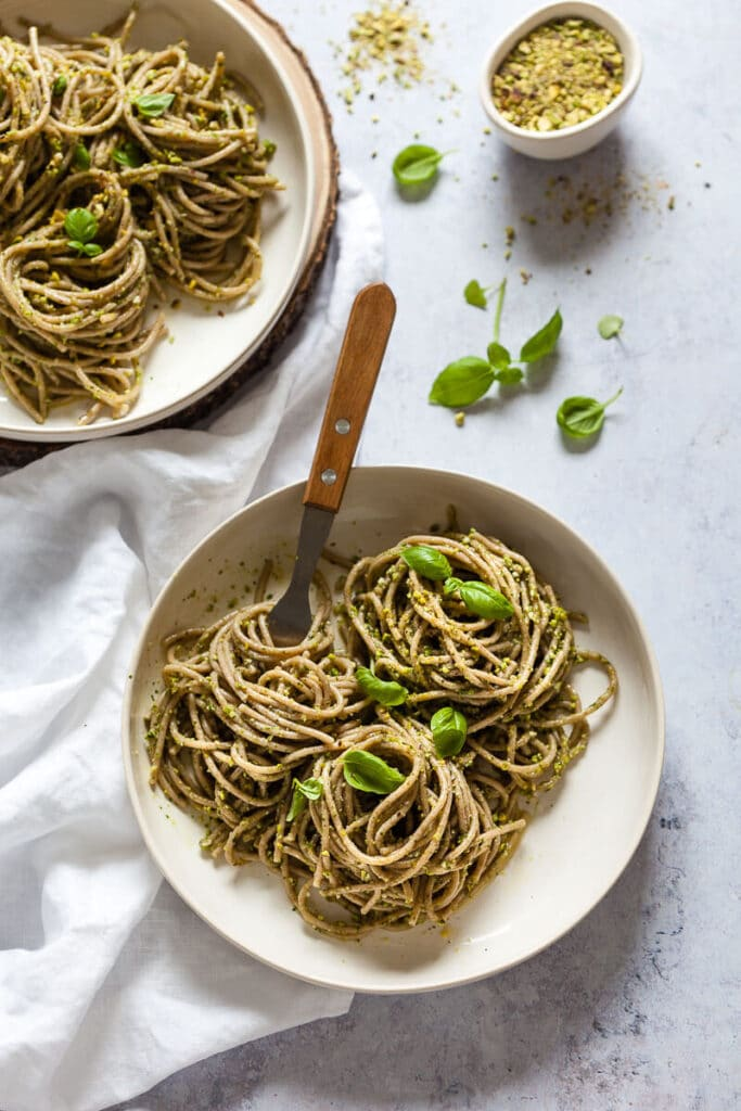 Vegan Green Pesto Pasta on plates