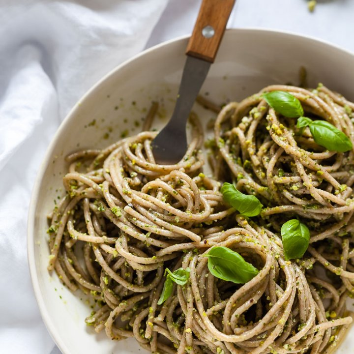 Vegan Green Pesto Pasta with Pistachios