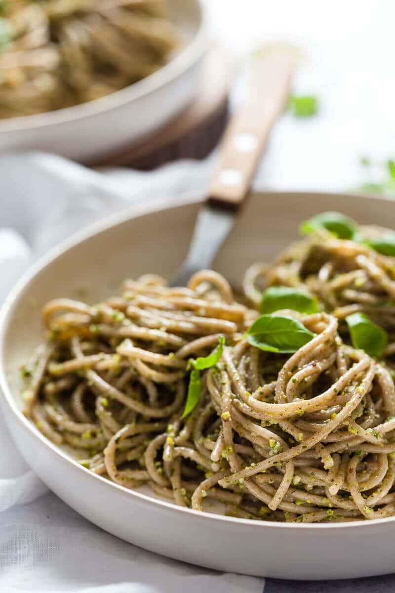 Vegan Green Pesto Pasta on plates