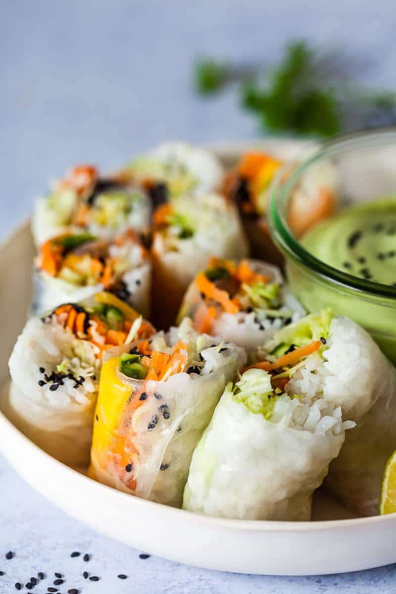 Sushi Spring Rolls on a plate