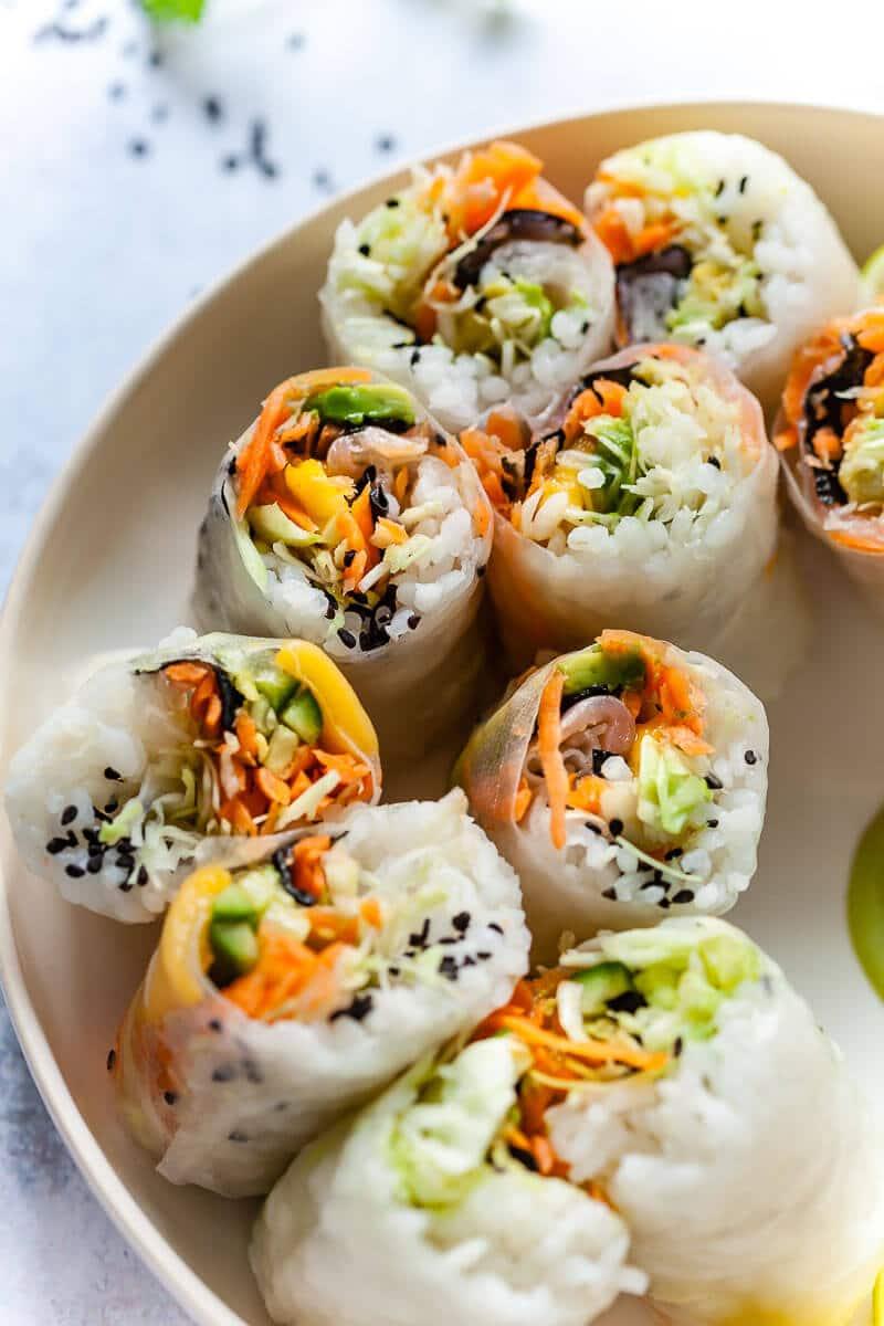 Vegan Fresh Sushi Spring Rolls closeup