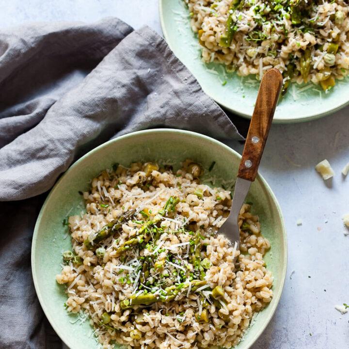 Vegan Barley Asparagus Risotto in plates