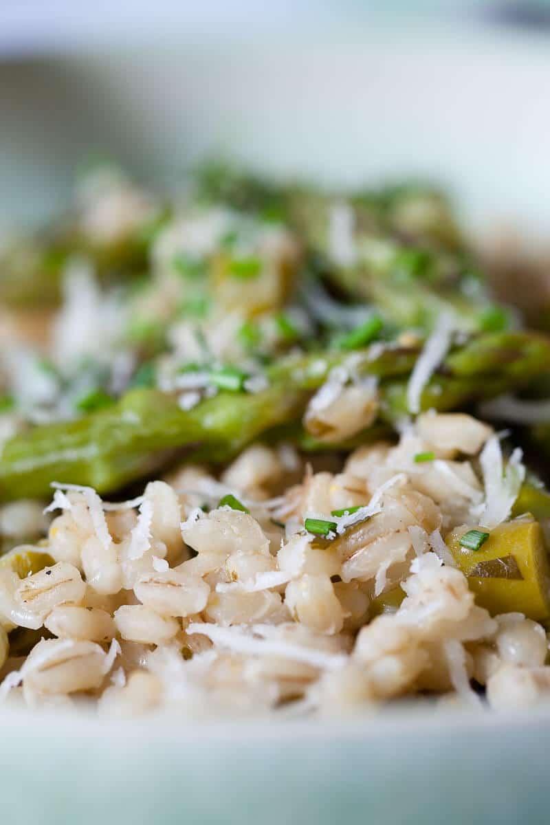 Vegan Barley Asparagus Risotto closeup