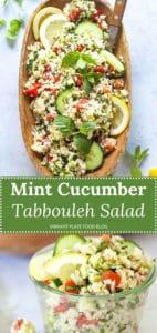 Mint Cucumber Tabbouleh Salad up close