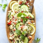 Mint Cucumber Tabbouleh Salad in a bowl