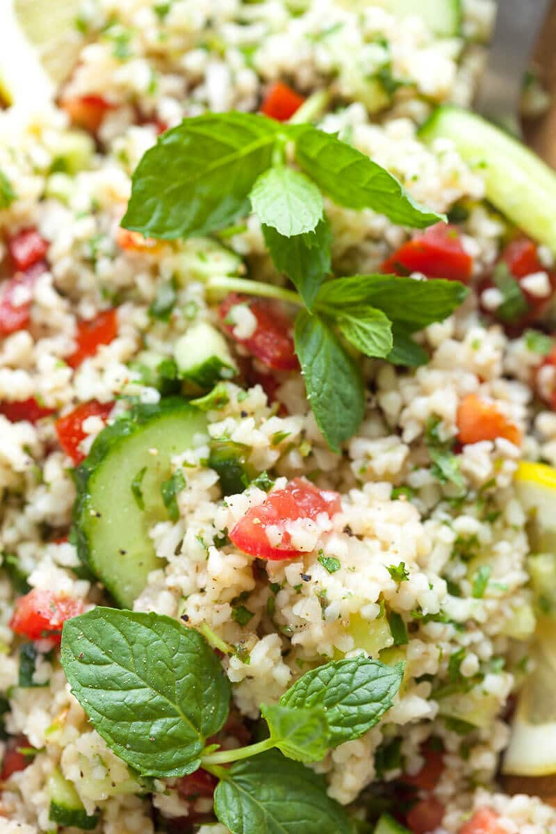 Mint Cucumber Tabbouleh Salad up close