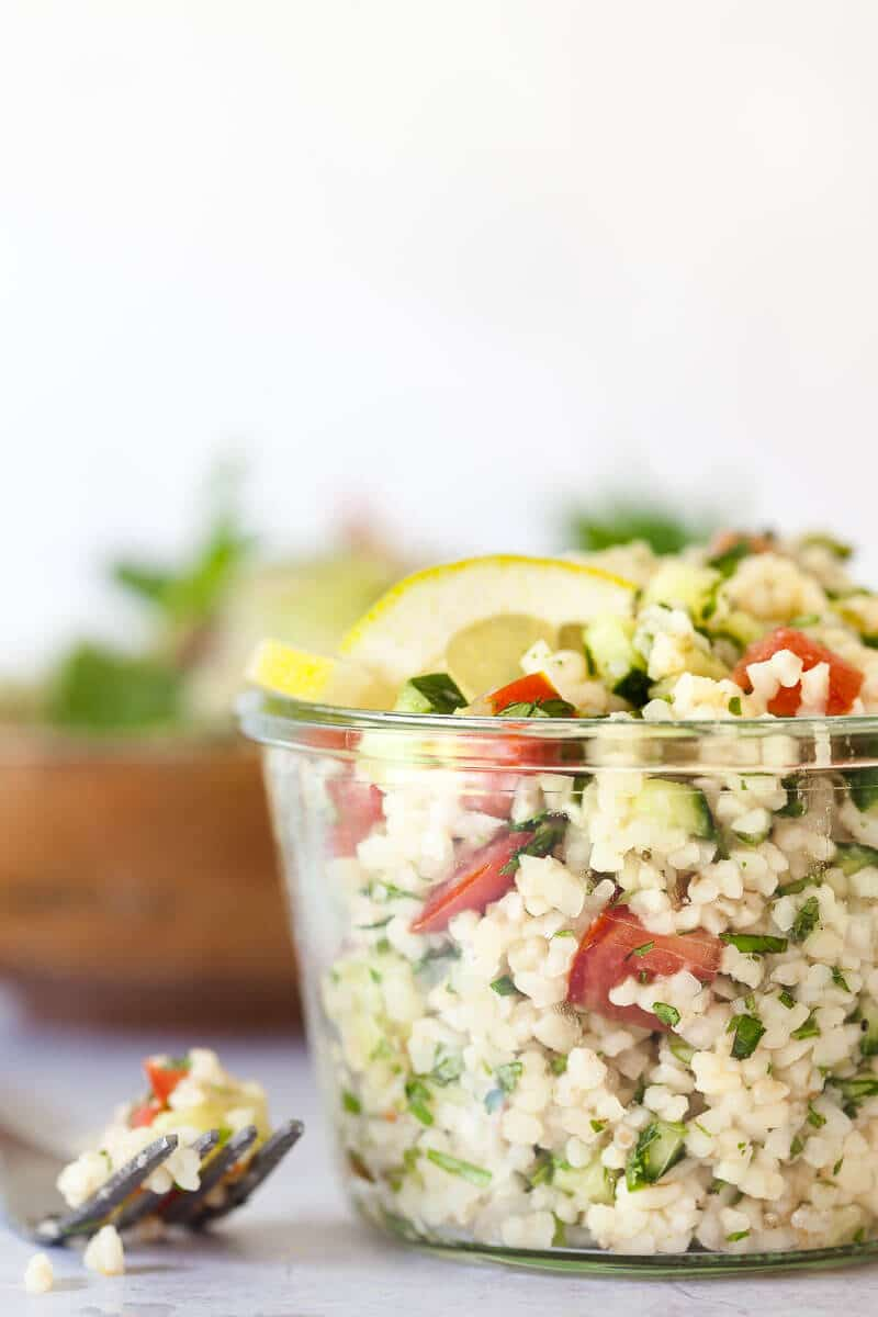 Mint Cucumber Tabbouleh Salad in a jar