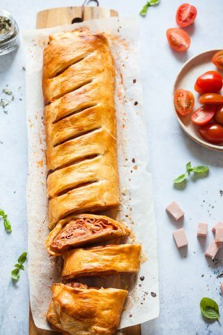 Mortadella Pizza Roll cut up